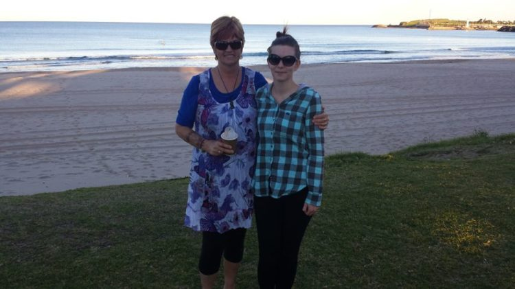 My wonderful mother in law & I. She came over from NZ when I was in pretty bad shape. She would drag me along to the beach just so I could get out and have a little walk.
