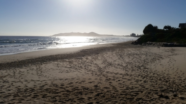 Belongil Beach in the morning, looking back towards Byron Bay.