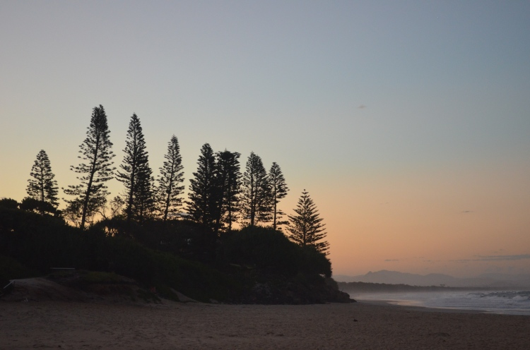Belongil Beach at sunset.